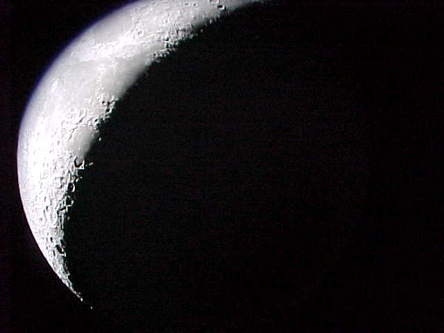 waxing crescent moon. The waxing crescent moon on
